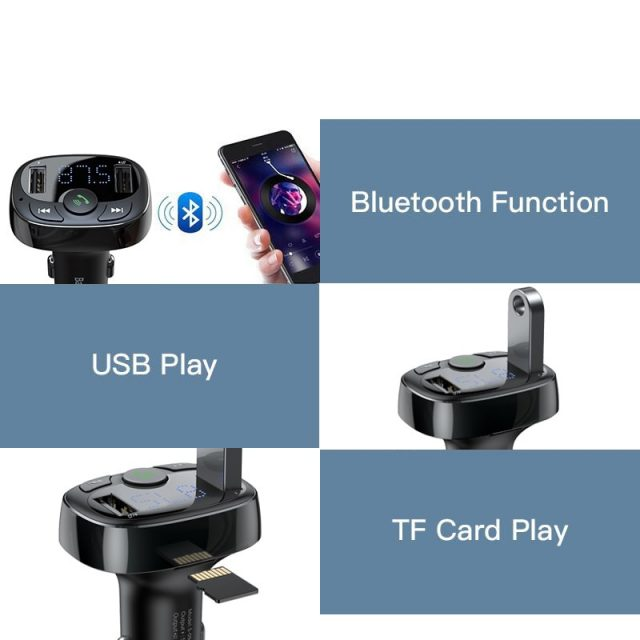 Baseus Car Charger for iPhone Mobile Phone Handsfree FM Transmitter Bluetooth Car Kit LCD MP3 Player Dual USB Car Phone Charger-in Car Chargers from Cellphones & Telecommunications on Aliexpress.c