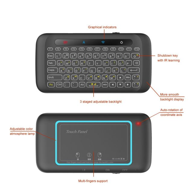 H20 Mini Wireless Keyboard Backlight Touchpad Air mouse IR Leaning Remote control For Andorid BOX Smart TV Windows PK H18 Plus-in Keyboards from Computer & Office on Aliexpress.com | Alibaba Group