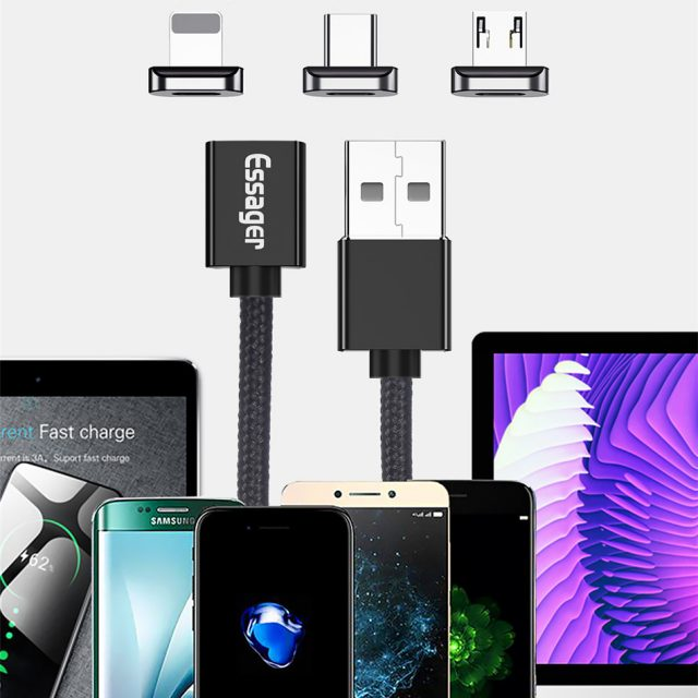 Essager Magnetic Micro USB Cable For iPhone Samsung Type c Charging Charge Magnet Charger Adapter USB Type C Mobile Phone Cables-in Mobile Phone Cables from Cellphones & Telecommunications on Alie