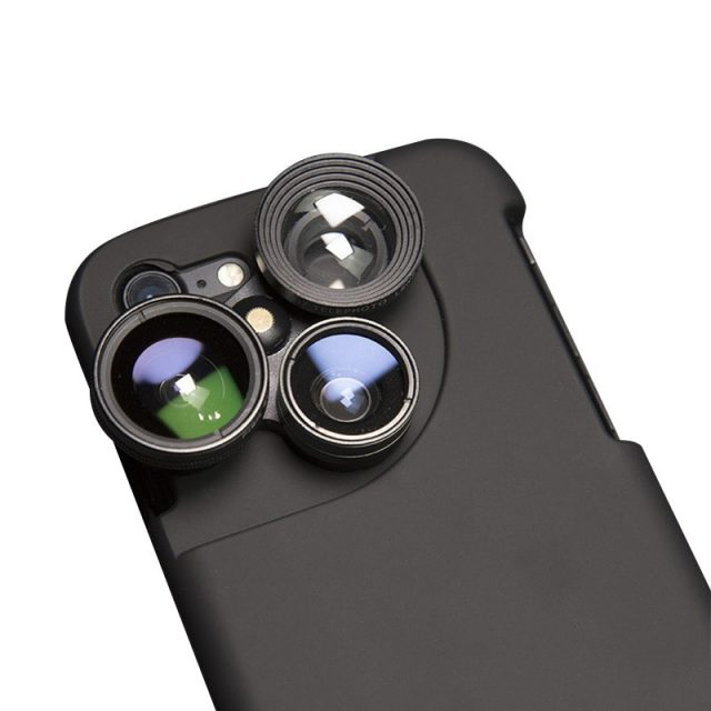 OTAO 4 in 1 Mobile Phone Lensese Cases Full Coverage For iPhone X 8 7 6S 6 Plus Wide Angle Macro Fisheye Phone Lenses Black Case-in Mobile Phone Lenses from Cellphones & Telecommunications on Alie