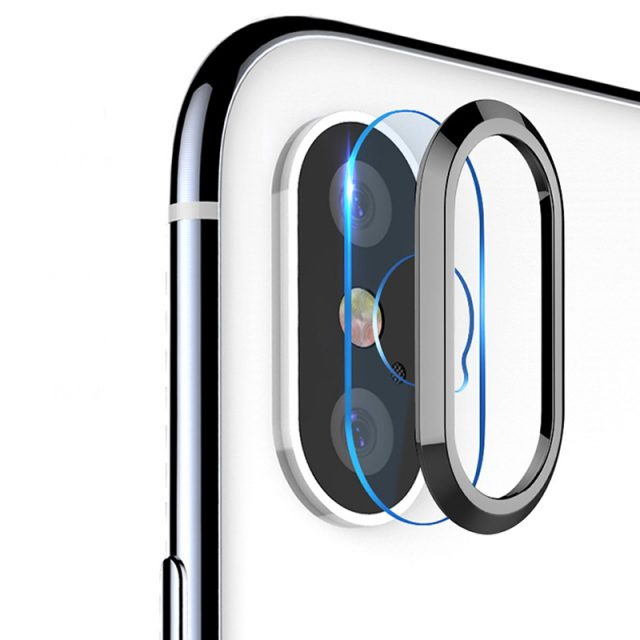 For iPhone X XS MAX 8 7 Plus Tempered Glass+Metal Rear Lens Protective Ring Camera Lens Screen Protector For iPhone XR iPhone XS-in Phone Screen Protectors from Cellphones & Telecommunications on