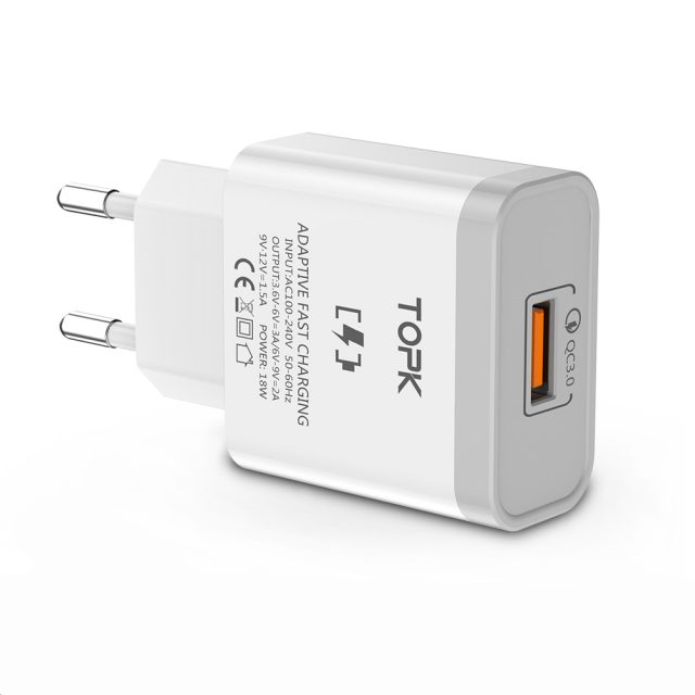TOPK B126Q 18W Quick Charge 3.0 Fast Mobile Phone Charger EU Plug Wall USB Charger Adapter for iPhone Samsung Xiaomi Huawei-in Mobile Phone Chargers from Cellphones & Telecommunications on Aliexpr